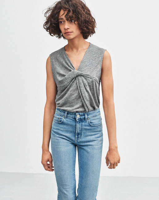 Linen Twist Top Light Grey