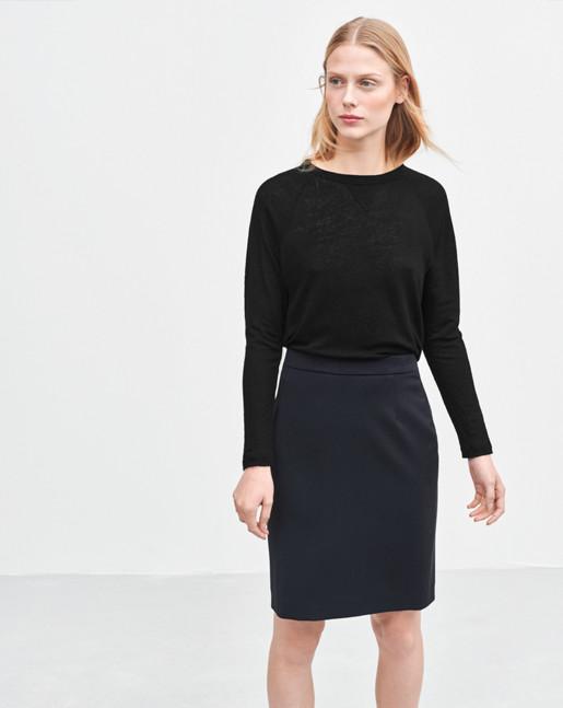 Linen Sweatshirt Tee Black