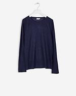 Linen Sweatshirt Tee Bright Navy