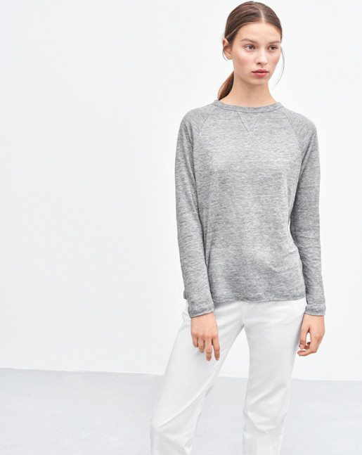 Linen Sweatshirt Tee Light Grey