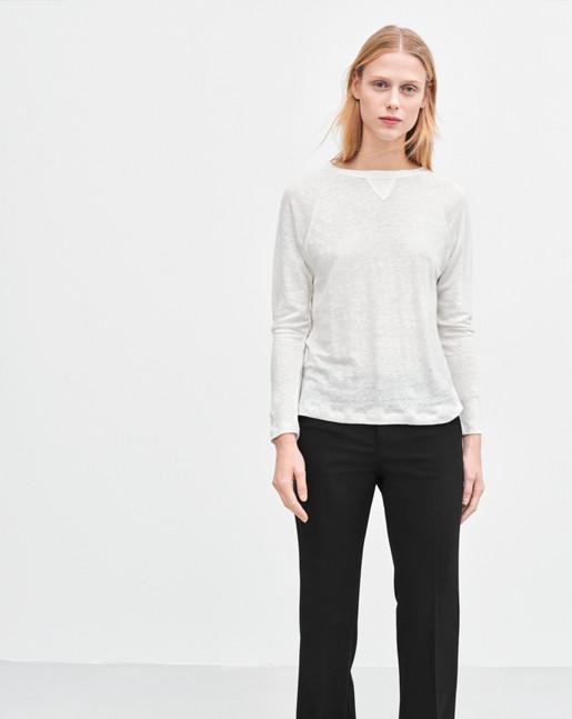 Linen Sweatshirt Tee White