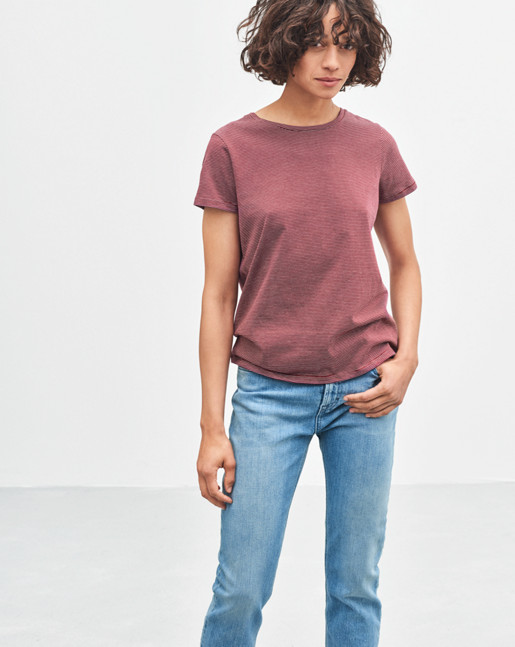 Organic Cotton Stripe Tee Mulberry/Offwhite