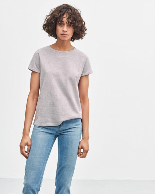 Organic Cotton Stripe Tee Offwhite/Mulberry