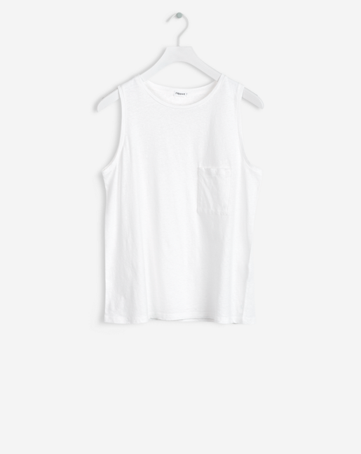 Cotton Linen Tank White