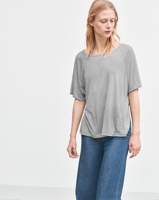 Rib Jersey Top Light Grey