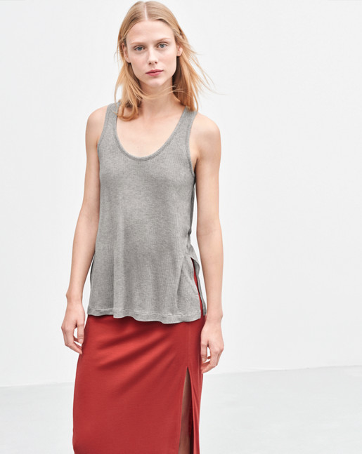 Rib Jersey Tank Light Grey