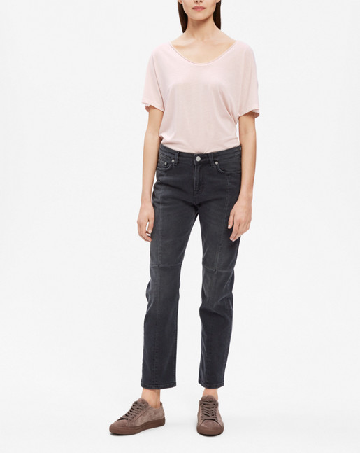 Roll Edge Scoop Neck Tee Light Blush