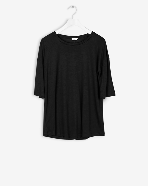 Elbow Sleeve Swing Top Black