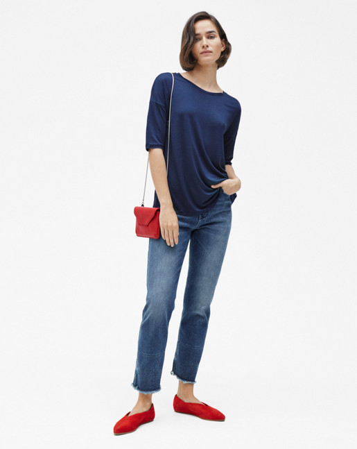 Elbow Sleeve Swing Top Navy