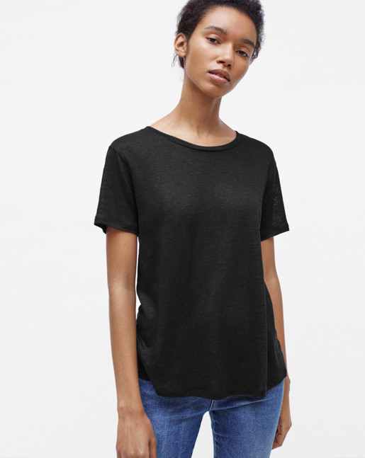 Swing Short Sleeve Linen Tee Black