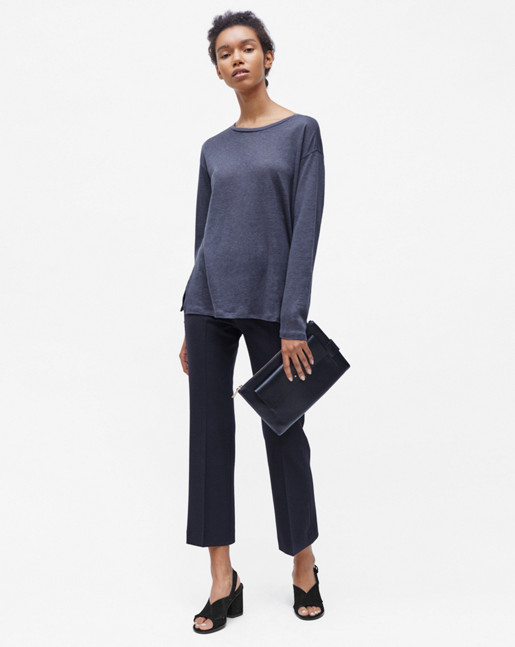 Relaxed Long Sleeve Linen Tee Iron