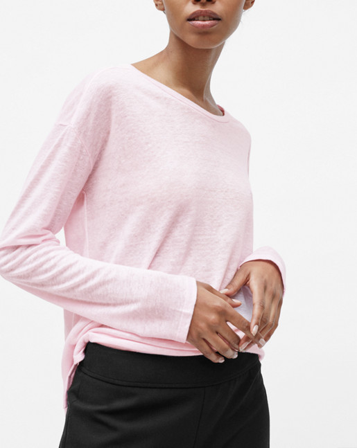 Relaxed Long Sleeve Linen Tee Powder Pink