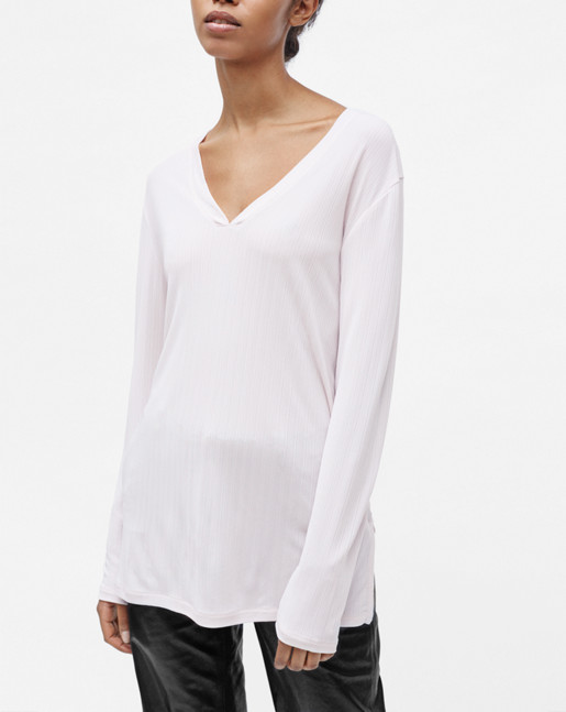 Deep V Jersey Blouse Pebble