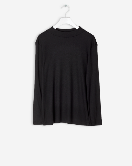 3/4 Sleeve Mock Neck Black