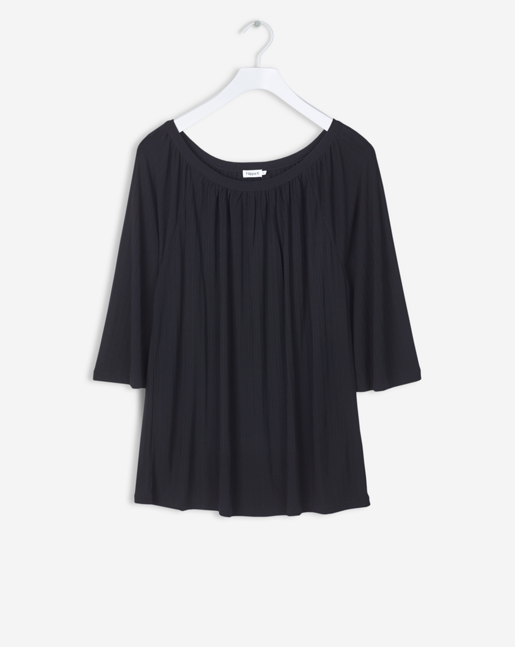 Gathered Scoop Neck Blouse Black
