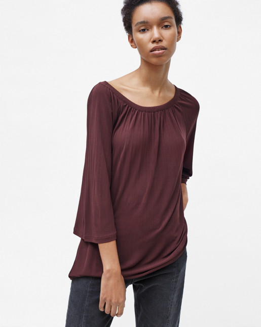 Gathered Scoop Neck Blouse Fig