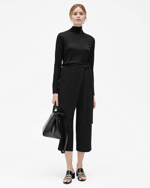 Tencel Polo Neck Top Black