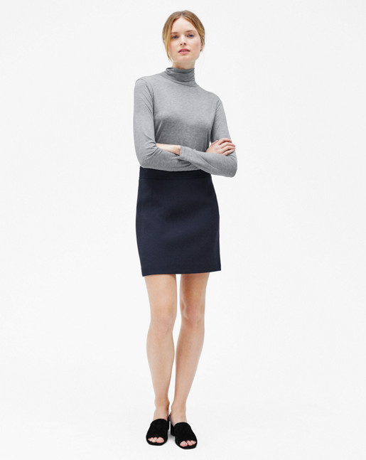 Tencel Polo Neck Top Grey Mel
