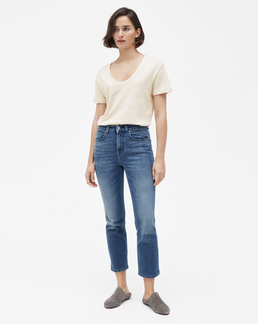 Linen Scoop Neck Tee Bone