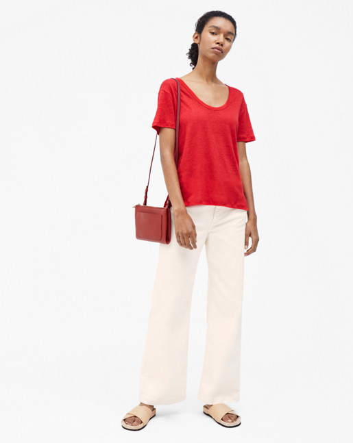 Linen Scoop Neck Tee Rouge