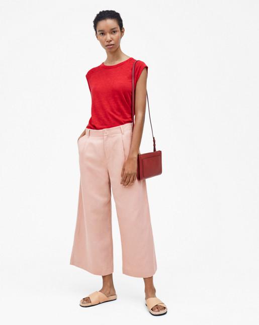 Linen Cap Sleeve Tee Rouge