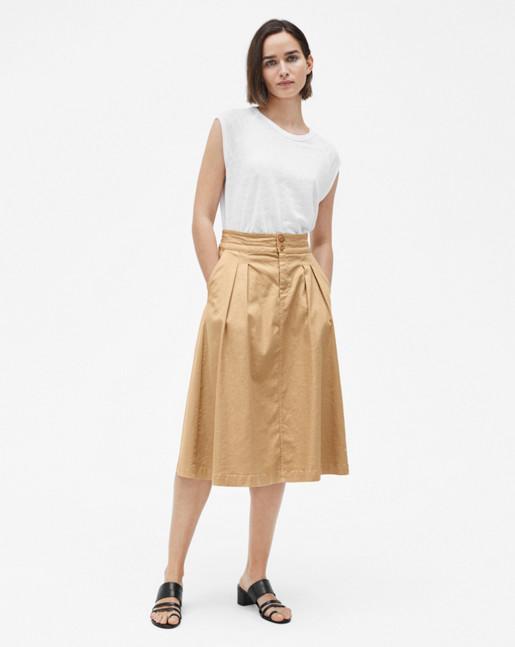 Linen Cap Sleeve Tee White