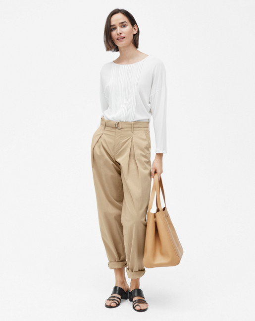 Pin-tuck Jersey Blouse Cream