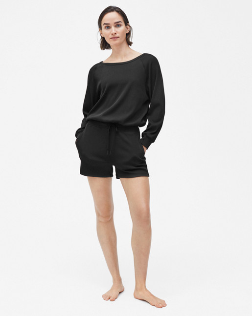 Drawstring Rib Sweater Black