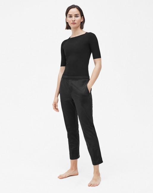 Slim Mid sleeve Top Black