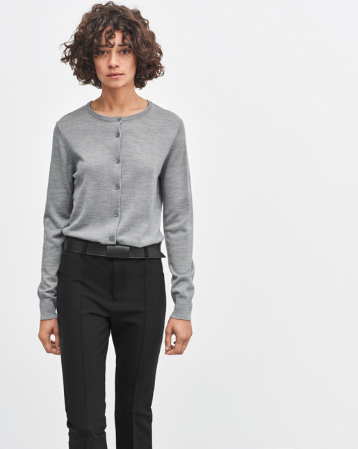 Merino Short Cardigan Light Grey