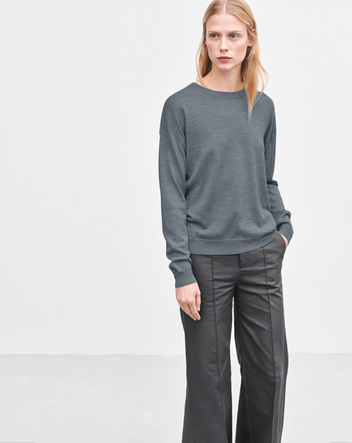 Merino R-neck Pullover Light Grey