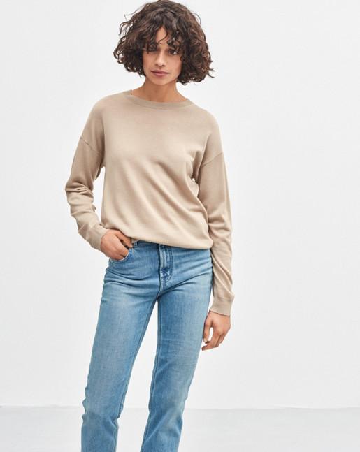 Merino R-neck Pullover Sand