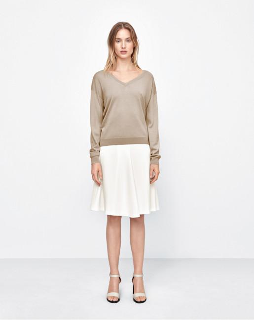 Merino V-Neck Pullover Sand