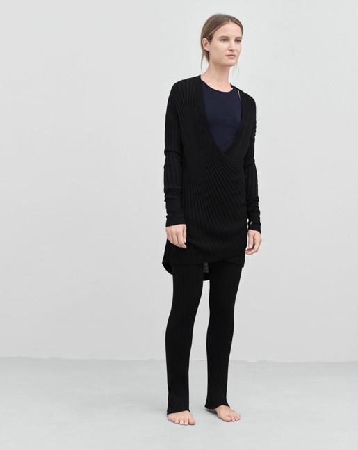 Rib Wrap Pullover Black