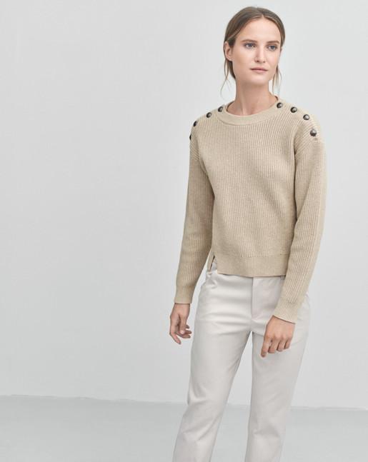 Button Rib Pullover Dove