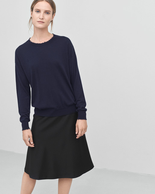 Frayed R-Neck Top Navy