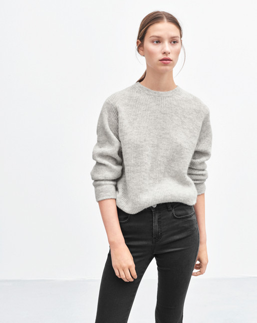 Rib Alpaca Pullover Light Grey