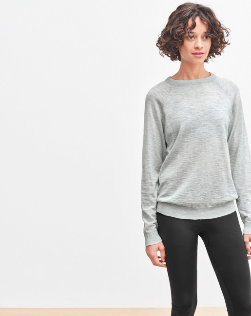 Cotton Silk Raglan Pullover Light Grey