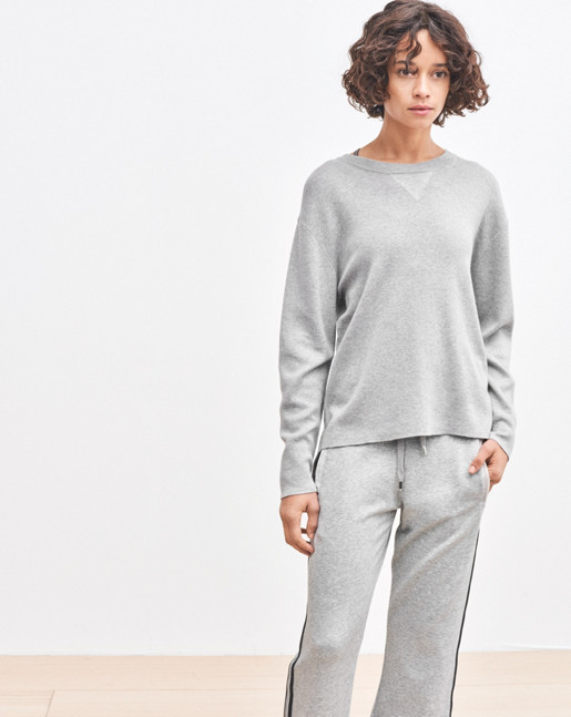 Sporty Knit Sweater Grey Melange