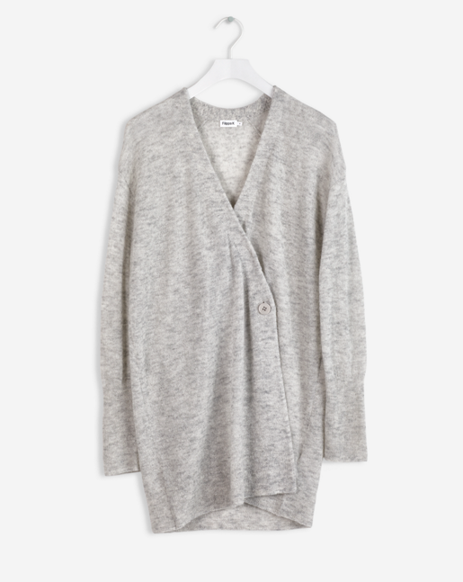Alpaca Long Cardi Light Grey