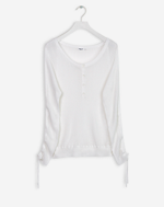 Cotton Rayon Button Pullover White