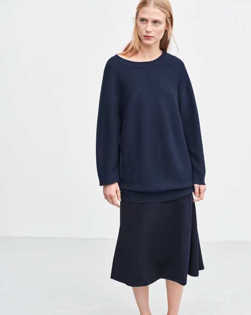 Oversized Cotton Pullover Navy
