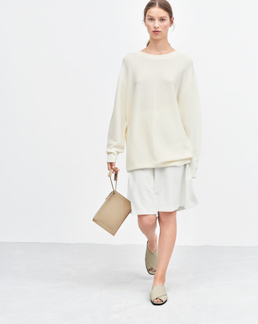 Oversized Cotton Pullover Offwhite