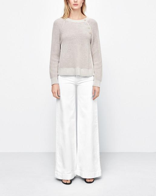 Cotton Mix Slit Pullover Linen