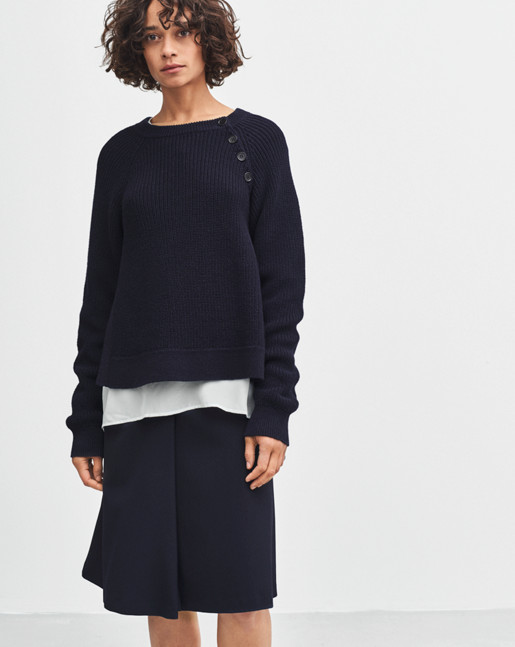 Cotton Mix Slit Pullover Navy