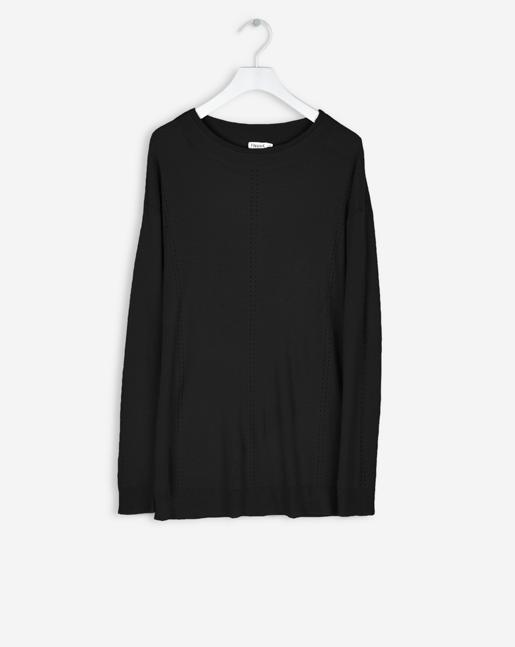 Delicate Rib Pullover Black