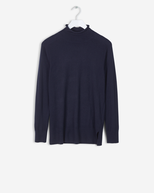 Mock Neck Pullover Navy