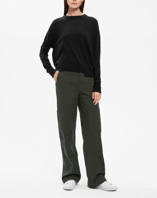 Asymmetric Drapey Pullover Black