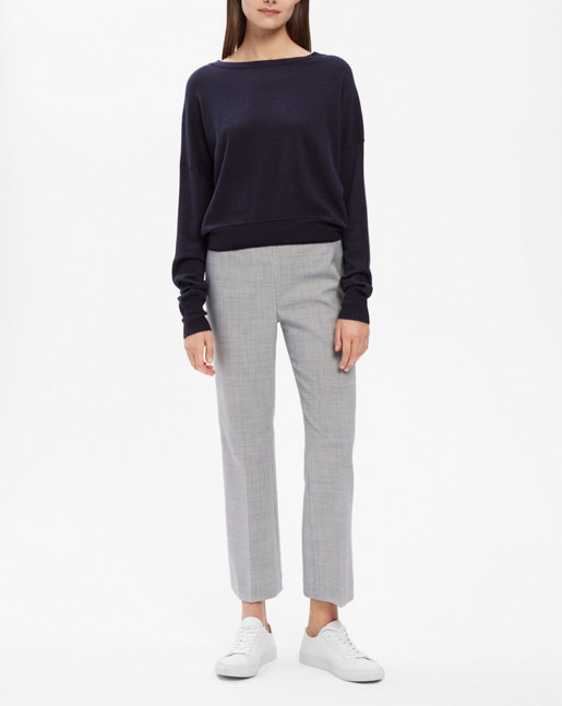 Cropped Silk Mix Pullover Navy