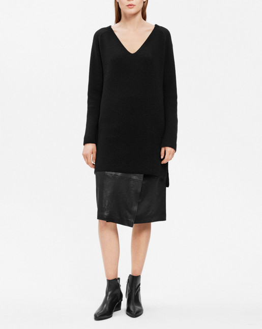 Ribbed Wool Mix Tunic Black